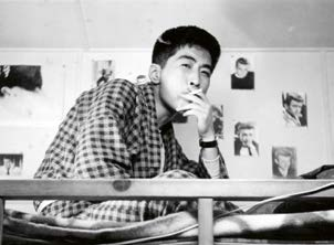 Sukita in the dormitory of the Japanese Institute of Photography & Film, Osaka, 1958