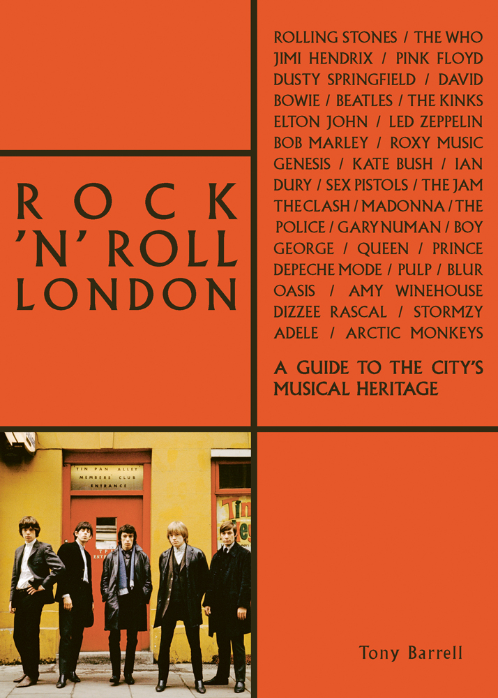 Bright orange cover with a photograph of a young Rolling Stones standing outside a cafe on a London street