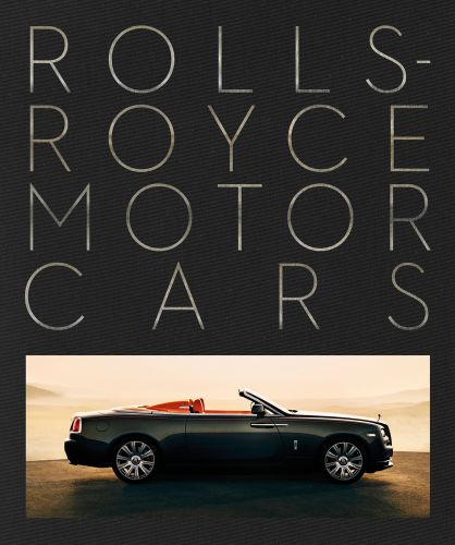 Photo at bottom of front cover of a Rolls Royce at sunset, with large font above Rolls-Royce Motor Cars on a black background, by ACC Art Books