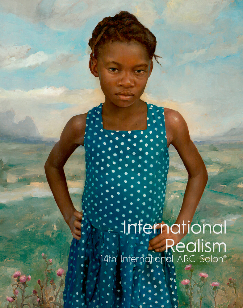 A painting of a young black girl wearing a blue dress with white dots facing the artist, she stands with her hands on her hips, and a determined look. The countryside background is out of focus.