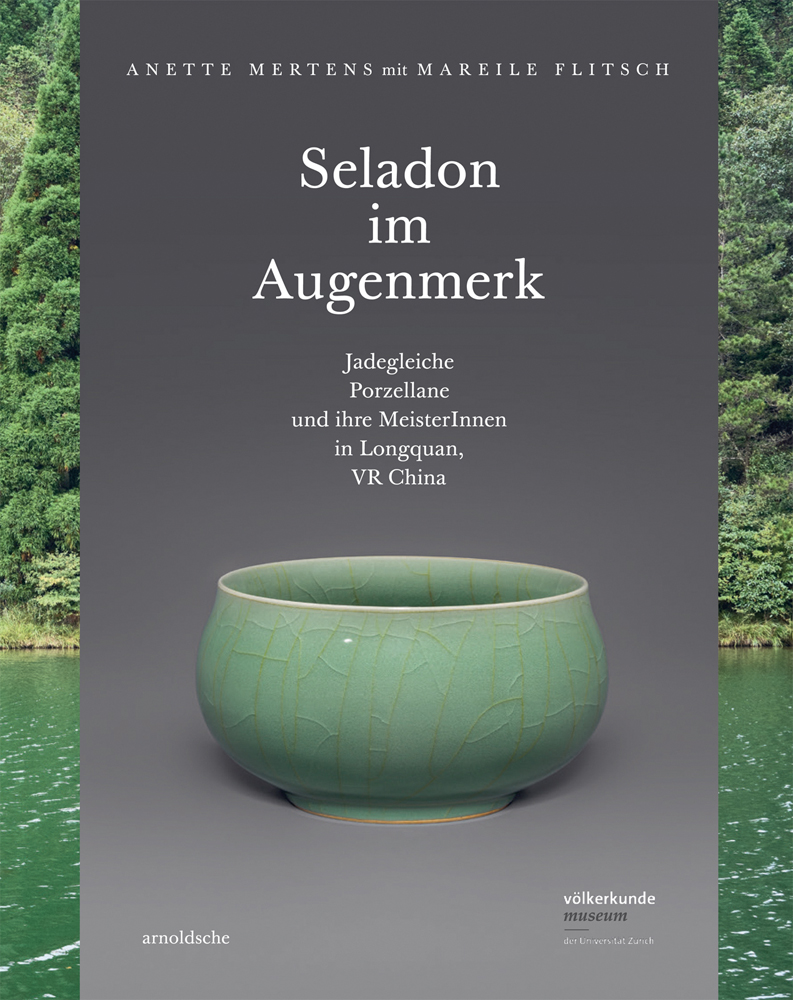 A colour photograph of a delicate mint green crackle glazed porcelain bowl on a grey background placed over a river scene photograph with Seladon im Augenmaerk in white